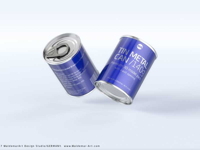 Packaging 3D model of the Tin metal can 140g with pull open