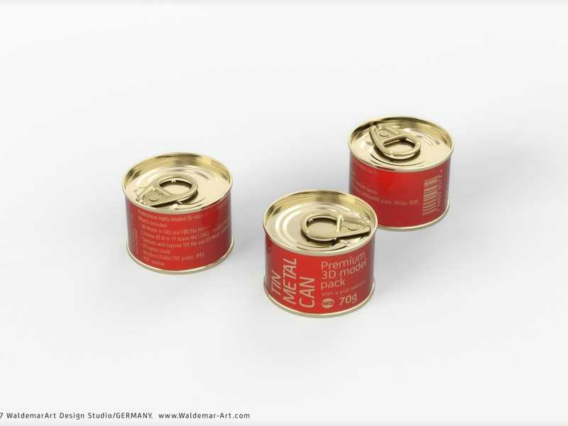 Packaging 3D model of the Tin metal can 70g with pull open