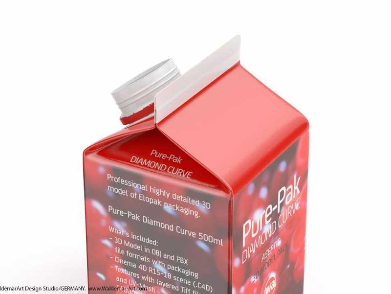 Elopak Pure-Pak Diamond-Curve Aseptic 500ml packaging 3D model / WA