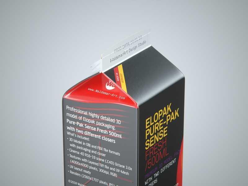Elopak Pure-Pak Sense Fresh 500ml Carton packaging 3D model