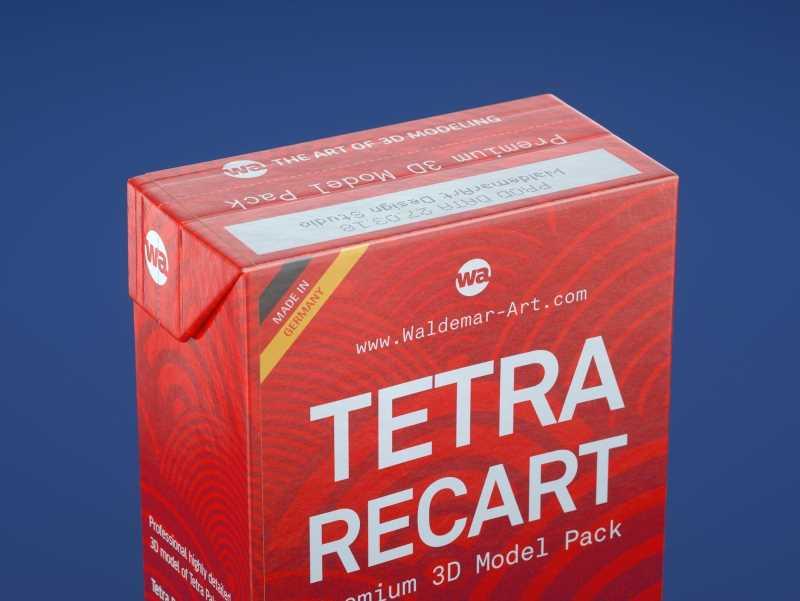 Tetra Pack Recart 200, 440 and 500ml carton packaging 3D model pak