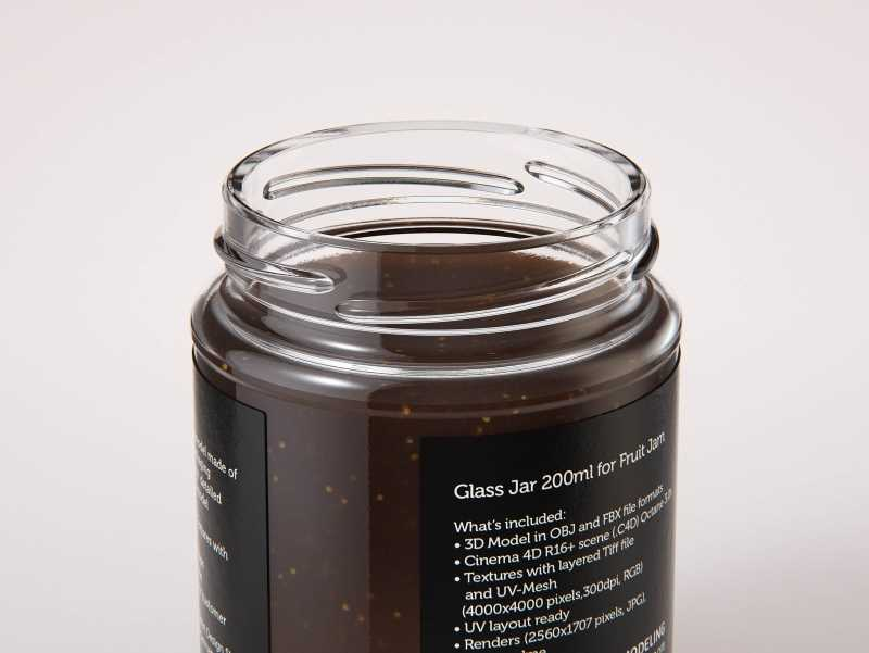 Fig Jam Glass Jar 200ml packaging 3d model