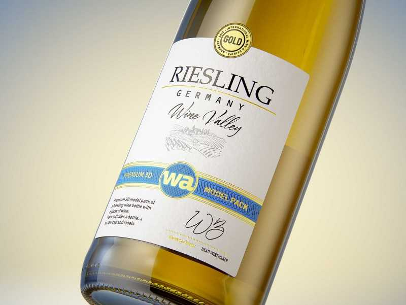 3D model of a wine bottle 750ml for Riesling wine with screw