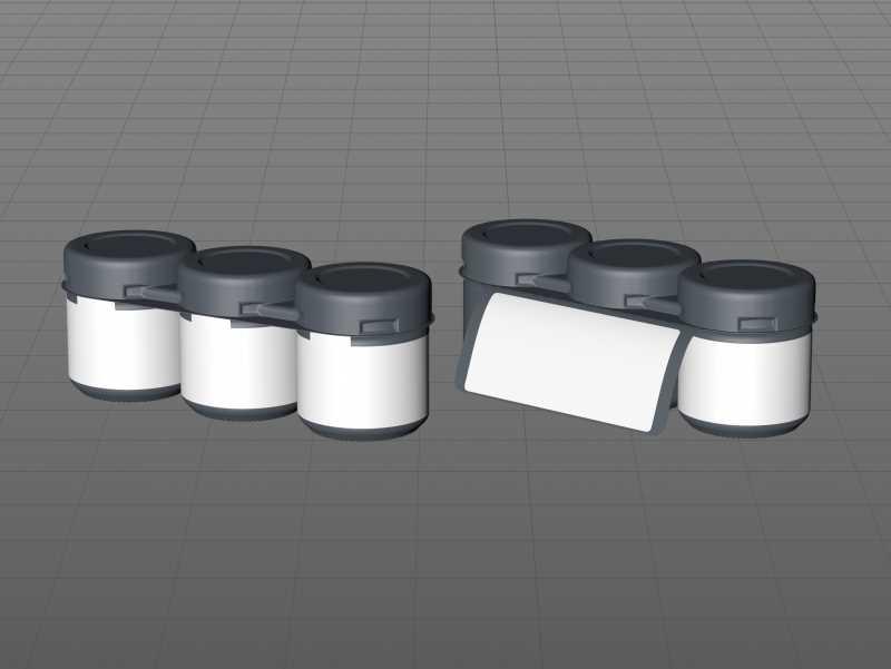 Set of x3 Acacia Honey Glass Jar 50g packaging 3d model