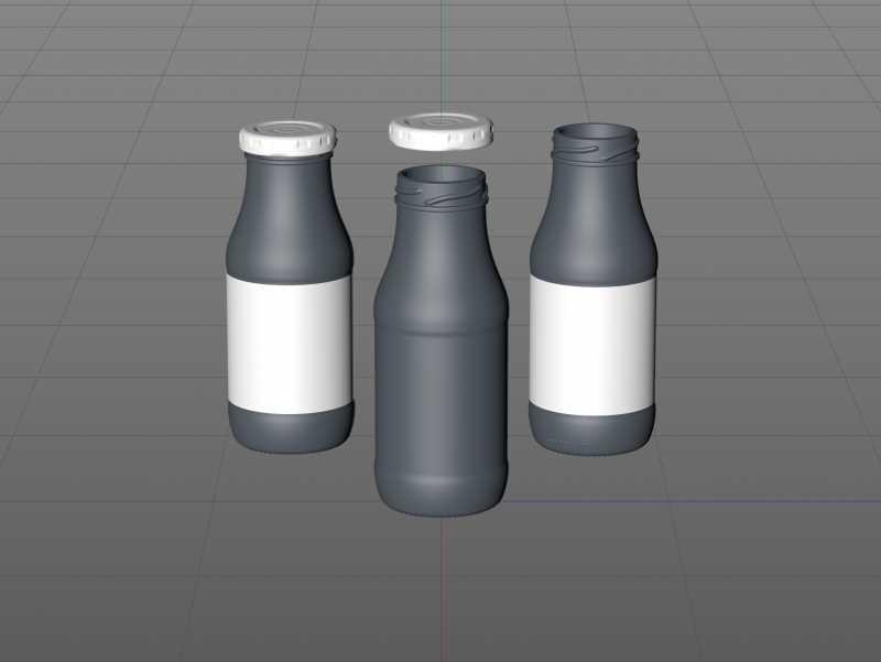 Smoothie/Juice Glass Bottle 250ml packaging 3D model pack