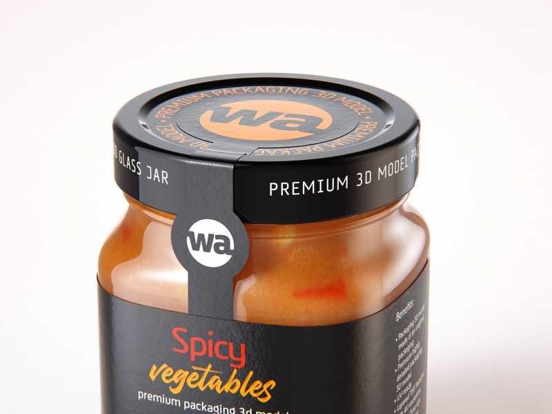 Spicy Vegetables Glass Jar 320g packaging 3D model