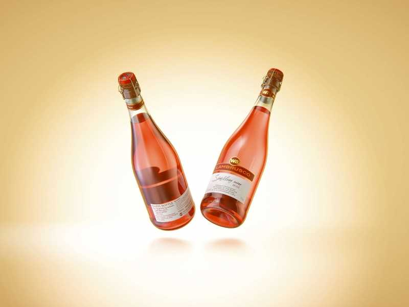 Spumante/Lambrusco/Secco bottle 750ml 3D model with Champagne cork and glass of sparkling wine