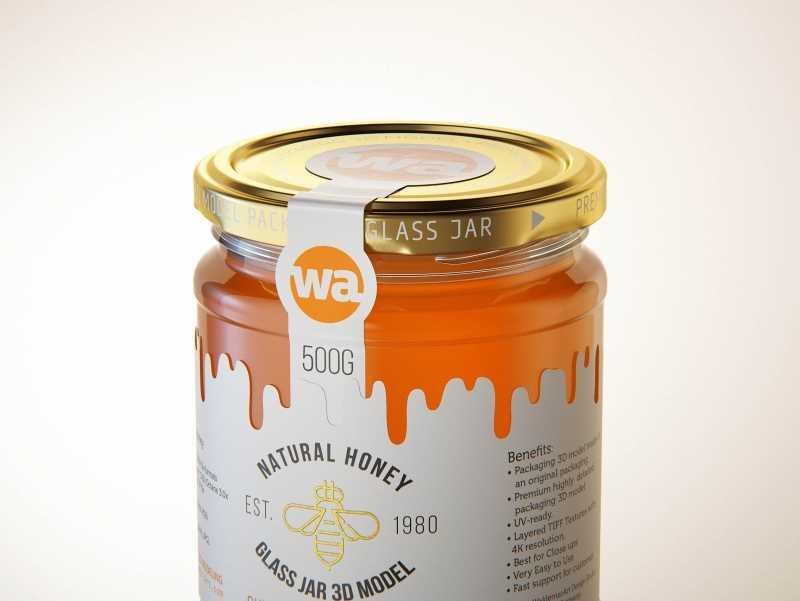 Summer Flower Honey Glass Jar 500g packaging 3d model