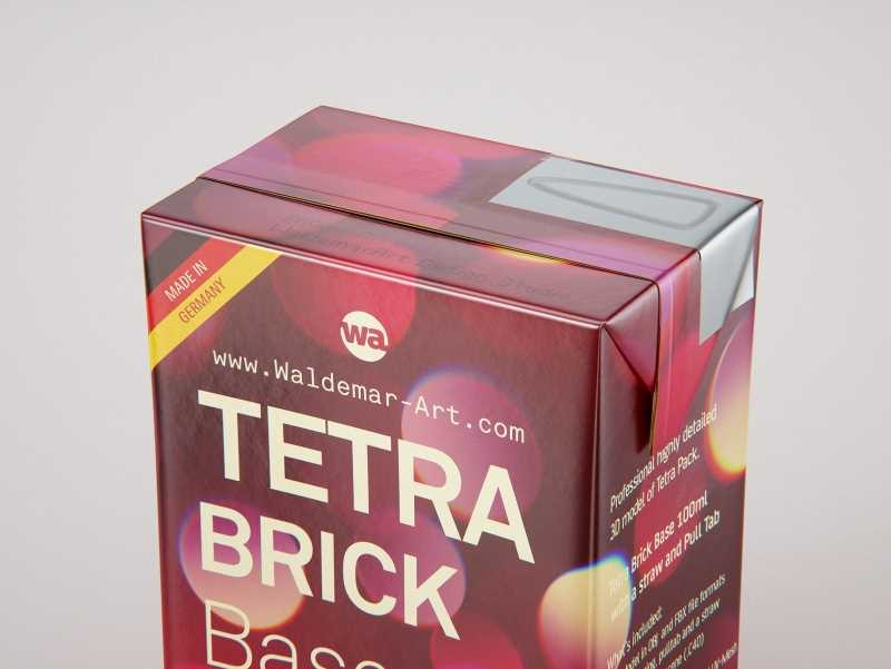 Tetra Pak Brick Base 100ml with Pull Tab and a packaged straw packaging 3d model pak