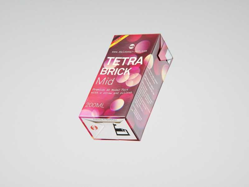 Tetra Pack Brik Mid 200ml with Pull Tab and a packaged straw packaging 3d model pak