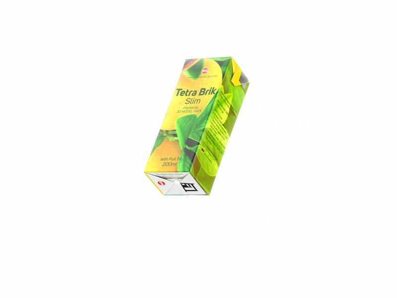 Tetra Pack Brick Slim 200ml with Pull Tab and a packaged straw package 3d model pak