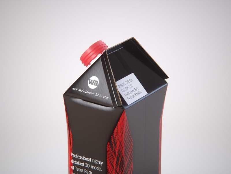 Tetra Pack Gemina Base Crystal 1000ml with HeliCap 27 Premium packaging 3d model pak.