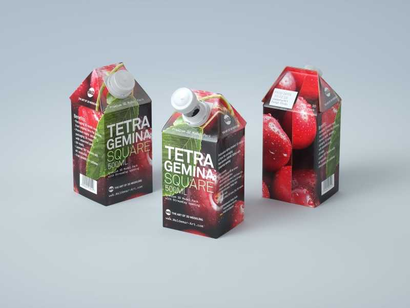 3D model of Tetra Pak Gemina Square 500ml package with StreamCap opening