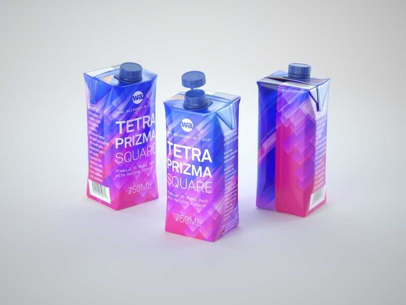 Tetra Pack Prisma Square 750ml Premium 3d model pak with HeliCap closure