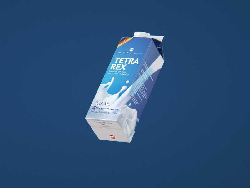 Tetra Rex 1000ml carton packaging 3d model with TwistCap