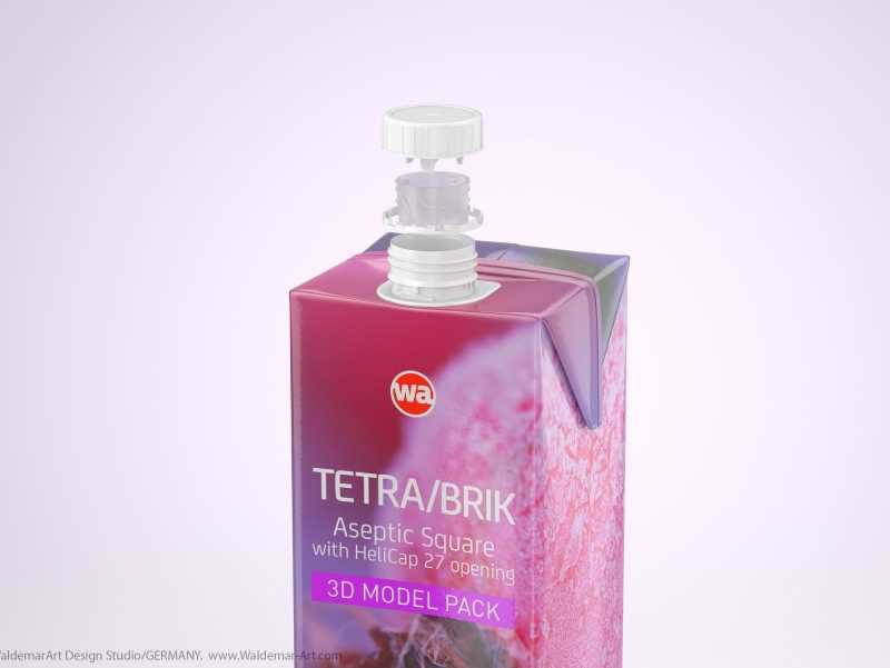 Tetra Pak Brik Square 1000ml with HeliCap 27 opening 3d model