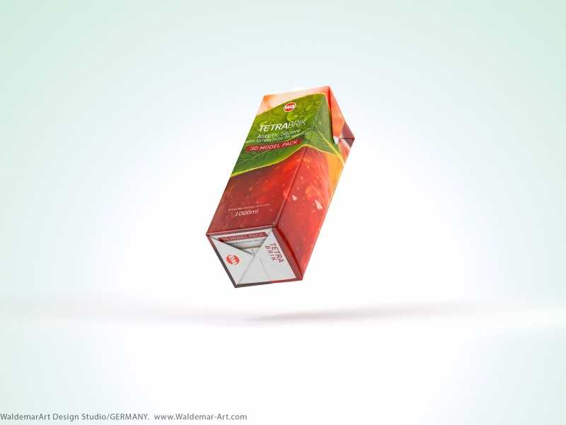 Tetra Pak Brik Square 1000ml with SimplyTwist 28 opening package 3d model