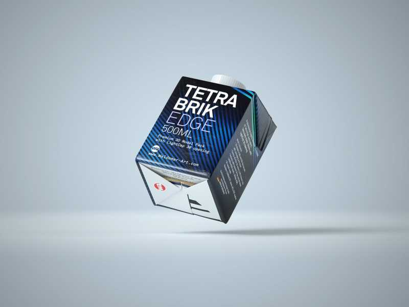 Tetra Pack Brick EDGE 500ml with LightCap 30 packaging 3D model pak