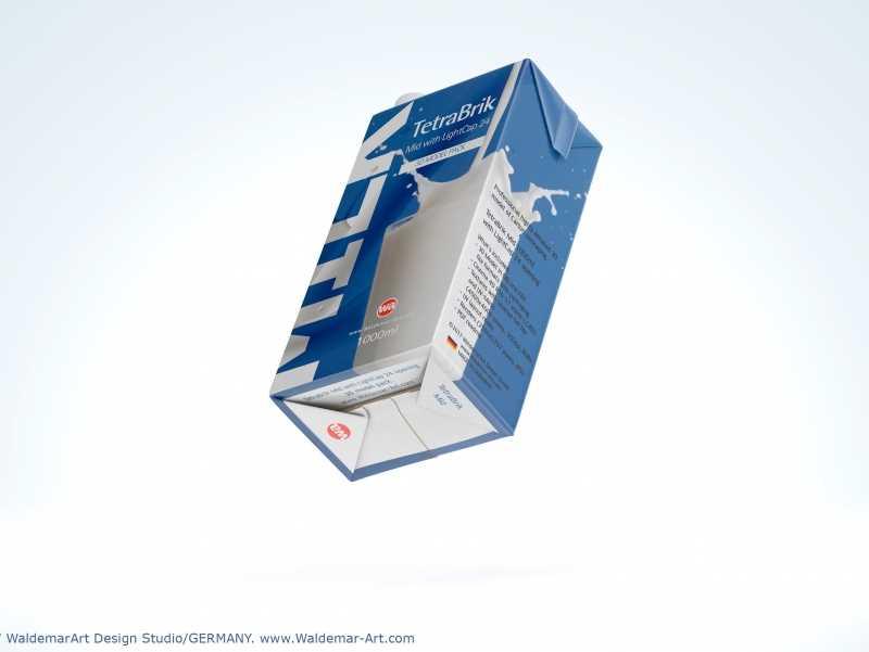 3D model pak of Tetra Pack Brick Mid 1000ml with LightCap 24 opening