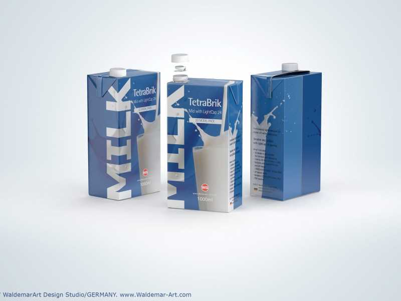 3D model of TetraPak Brik Mid 1000ml with LightCap 24 opening