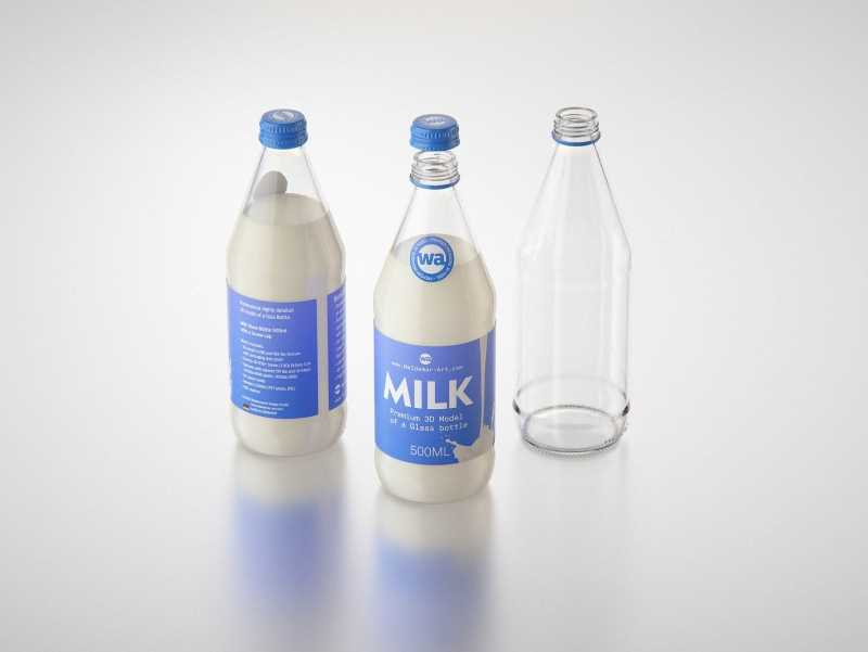 Vanilla Milk Glass bottle 500ml packaging 3D model with a screw cap and a glass of milk