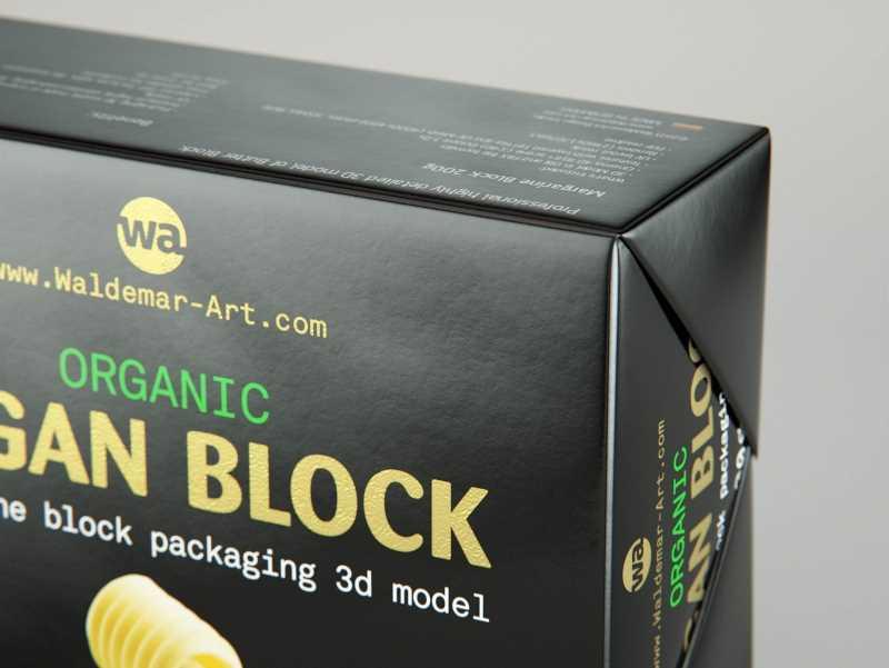 Vegan Butter Block 200g packaging 3D model