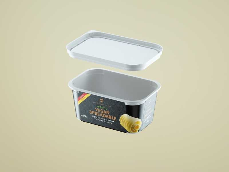 Vegan Spreadable Butter plastic container 450g packaging 3D model