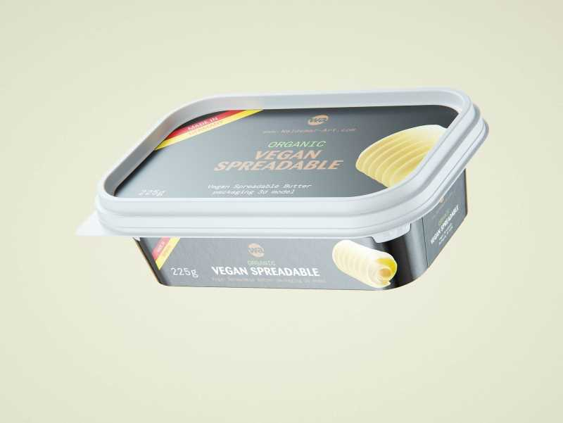 Vegan Spreadable Butter plastic container 225g packaging 3D model