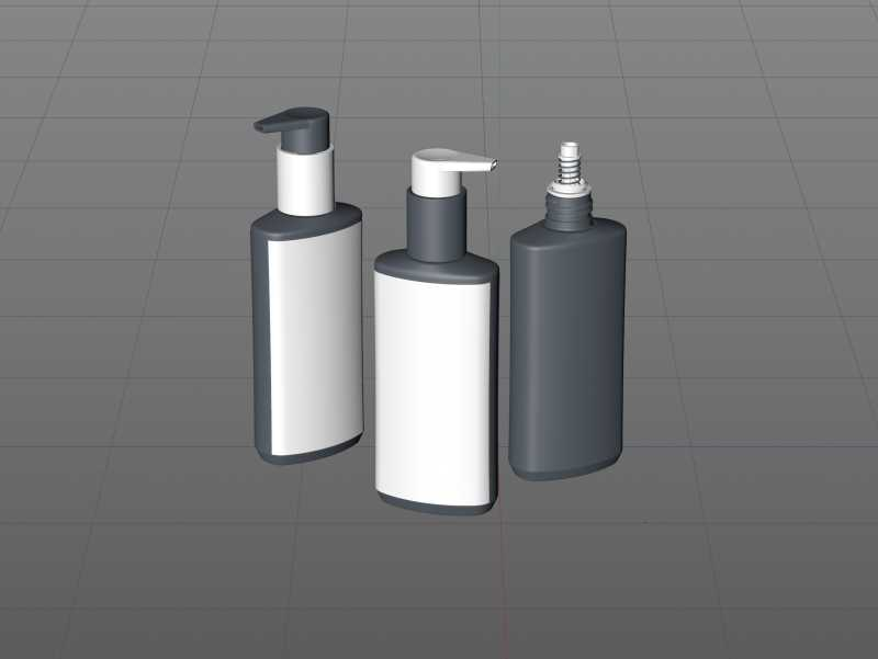 Wash Gel Plastic Bottle 200ml packaging 3D model