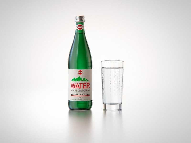 Water glass bottle 750ml packaging 3D model pack