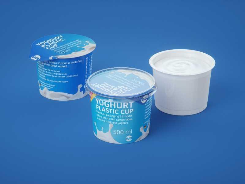 Yoghurt Plastic Cup (short version) 500ml Premium packaging 3D model