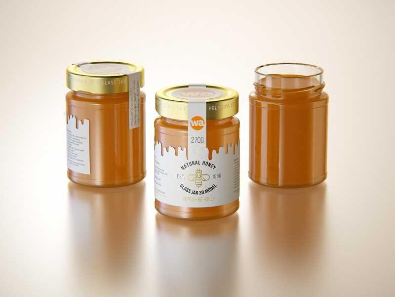 Yorkshire Honey Glass Jar 270g packaging 3d model