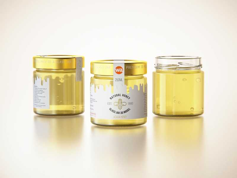 Acacia Honey Glass Jar 250g packaging 3D model
