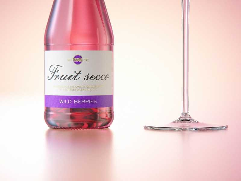 Fruit Secco glass bottle packaging 3D model 200ml with a screw cap and a glass of fruit wine