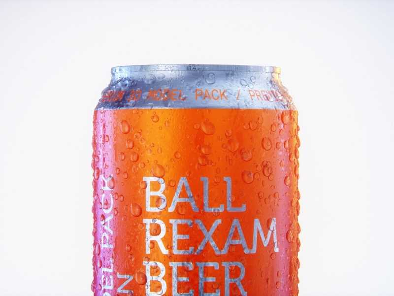 Metal Beer/Soda can 500ml with water droplets and condensation professional 3D model pack