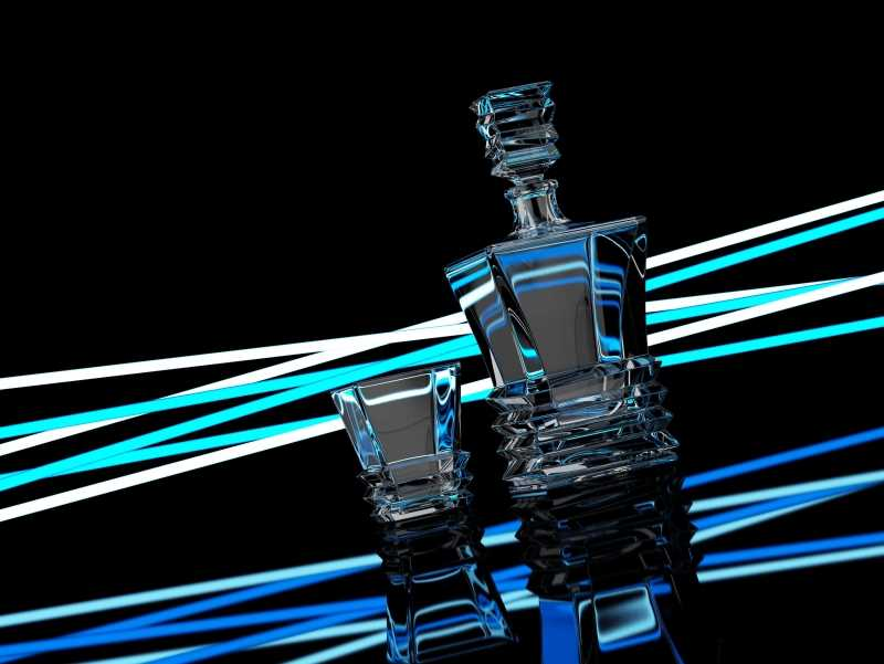 Rocky - packaging 3D model and scene of Decanter for alcohol products (Vray)