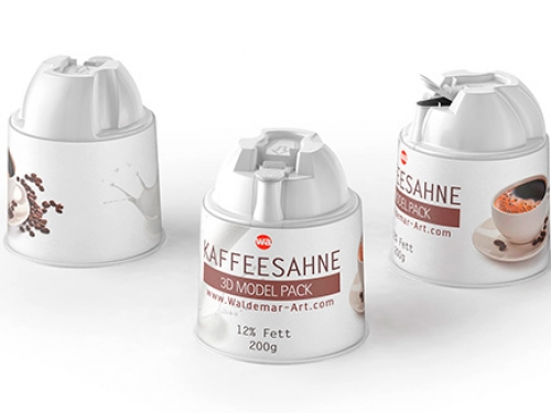 Kaffeesahne 200g. Packaging 3D model of the plastic package for the Coffee cream.