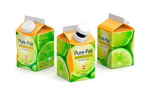 Tetra Pak Prisma Square 200ml packaging 3D model with PullTab and Straw