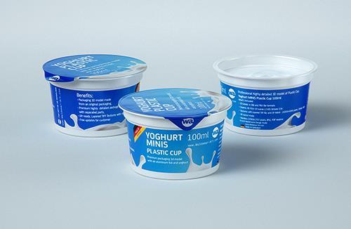 premium 3D model of Yoghurt MINIS 100ml Plastic cup