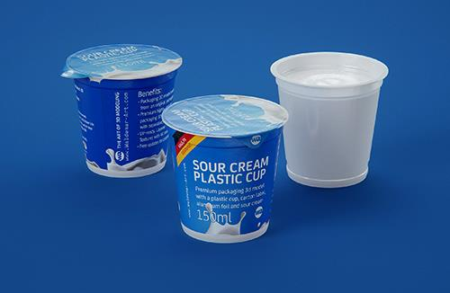 Sour cream plastic cup packaging 3D model 150ml