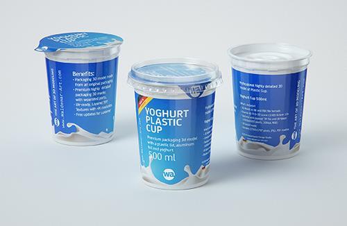 Yoghurt Plastic Cup 500ml Professional packaging 3D model