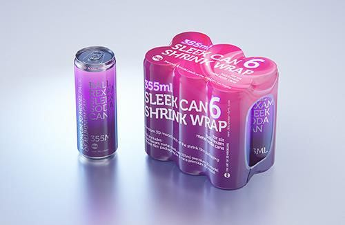 6 Shrink Wrap packaging for Sleek soda can 355ml premium packaging 3D model