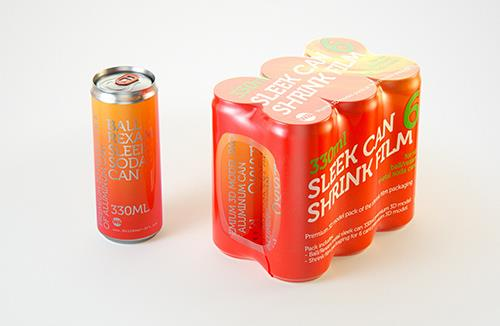 6 (six) Shrink Film pack with Sleek Can 330ml (WITHOUT WRINKLES) professional packaging 3D model pack