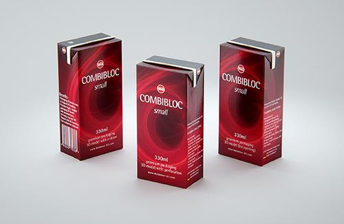 SIG CombiBloc Small 330ml with perforation and a straw hole packaging 3D model pak