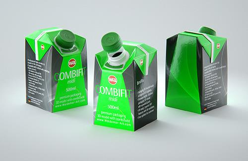 SIG combiFit Midi 500ml with combiTwist closure packaging 3D model