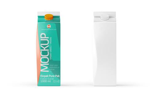 Packaging Mockup of Elopak Pure-Pak Classic-Curve 1000ml - Front view