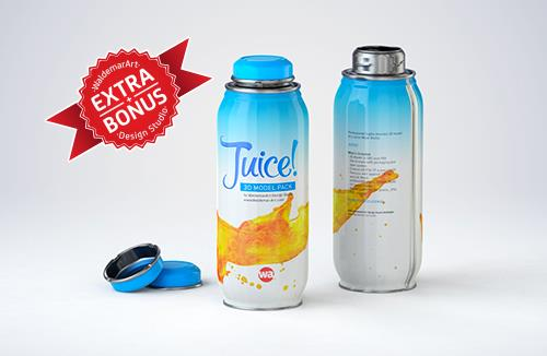 JUICY - packaging 3D model of the metal bottle for juices