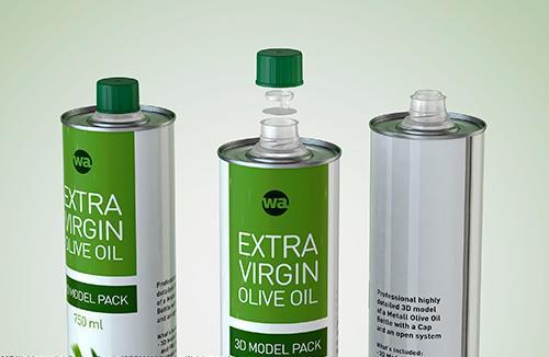 Olive oil metal bottle 750ml packaging 3d model