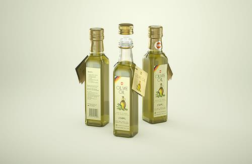 Olive oil square glass bottle 250ml Premium 3D model pack