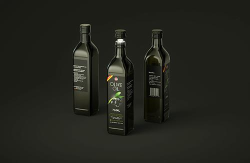 Premium packaging 3D model of the Olive Oil Square Glass Bottle 750ml